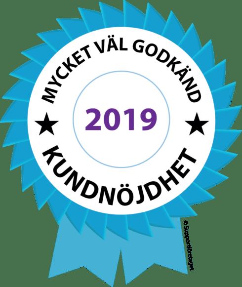 Logga för mycket väl godkänd kundnöjdhet 2019
